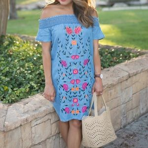 Chambray Embroidered Sundress